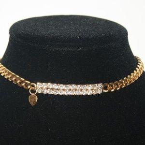 80's style gold rhinestone choker necklace